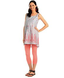House of Napius Radiation Safe Sleeveless Maternity Embroidered Tunic - Pink