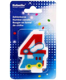 Riethmuller Number 4 Candle Train Design - Red And Blue