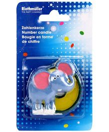 Riethmuller Safari 0 Number Candle Elephant Design - Grey And Yellow