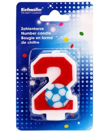 Riethmuller Number 2 Candle Football Design - Red And White