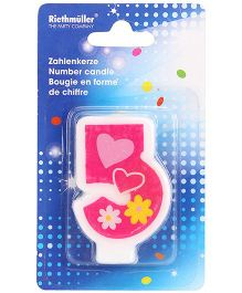 Riethmuller Number 5 Candle Floral And Hearts Design - Pink