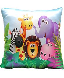 Surbhi Kids Cushion Wild Animals Print - Multi Colour