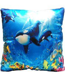 Surbhi Kids Cushion Whale Print - Blue
