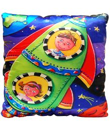 Surbhi Kids Cushion Rocket Print - Multi Colour