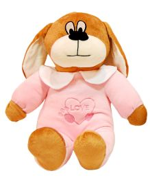 Surbhi Baby Dog Soft Toy With Embroidered Dress Pink - 38 cm