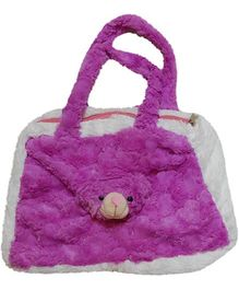 Surbhi Soft Hand Bag Teddy Design - White And Purple