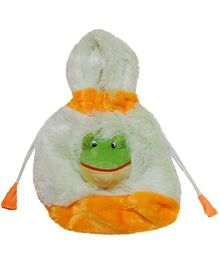 Surbhi Plush Hand Bag Frog Motif - White And Orange