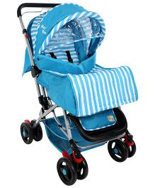 Mee Mee Pram Cum Stroller Stripes Print Blue - MM-26