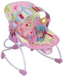 Baby Bouncer Bird And Polka Dot Print - Pink And Green