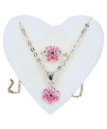 Steffi Love Ring And Necklace Set Floral Design - Pink