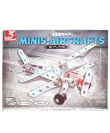 Toy Kraft Minis Aircrafts Bi-Plane 54 Parts - Silver