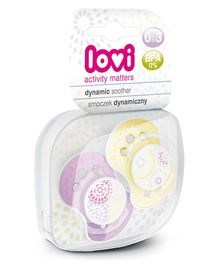 Lovi Pack of 2 Dynamic Soothers Trendy - Purple Yellow