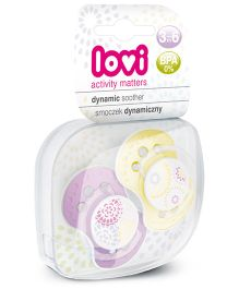Love Pack of 2 Dynamic Soothers Trendy - Purple Yellow