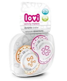 Lovi Pack of 2 Dynamic Soothers Basic - Pink Orange