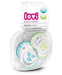 Lovi Pack of 2 Dynamic Soothers Basic - Blue Green