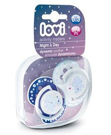 Lovi Pack of 2 Dynamic Soothers Night & Day - Blue