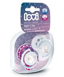 Lovi Pack of 2 Dynamic Soothers Night & Day - Pink