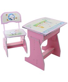 Kids Study Table With Chair Bear And Giraffe Print Pink - 2029