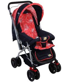 Mee Mee Pram Cum Stroller Circle Print Red And Navy - MM-22