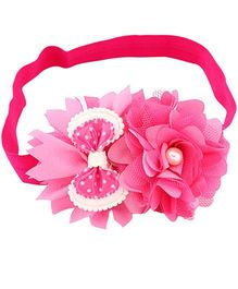 Little Cuddle Classic Satin mesh baby bow headband - Pink