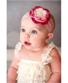 Little Cuddle Big Flower Lace Baby Headband - Pink