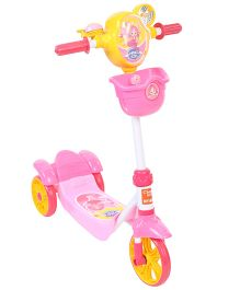 Baby Three Wheel Scooter With Front Basket - Pink