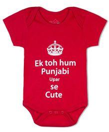 Acute Angle Punjabi Cute Red Onesie