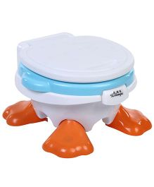 Baby Potty Seat Cum Chair Duck Face Design - White And Sky Blue