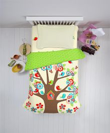 Welhome Single Bed Sheet Set Tree Print - Multicolour