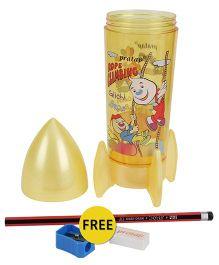 Pratap Rocket Shaped Plastic Pencil Box - Light Yellow