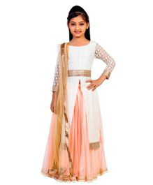 K&U Long Sleeves Choli Lehenga With Dupatta Set - White Peach
