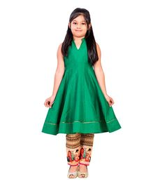 K&U Sleeveless Indowestern Kurti And Straight Pants - Green Golden