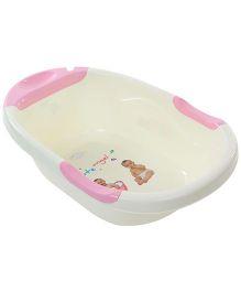Baby Bath Tub Cute Angel Print - Cream And Pink