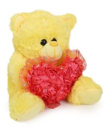 Funzoo Teddy Bear With Heart Applique Yellow - Height 10.4 Inches