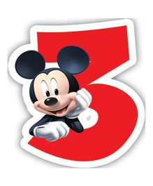 Disney Mickey Mouse And Friends Birthday Numeral 3 Candle - 2.5 inches