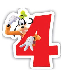 Disney Mickey Mouse And Friends Birthday Numeral 4 Candle - 2.5 inches