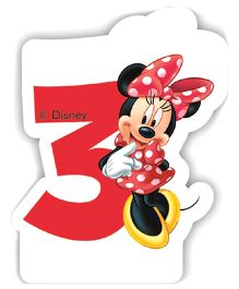 Disney Minnie Mouse Birthday Numeral 3 Candle - Red