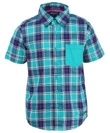 Bells and Whistles Check Half Shirt - Green