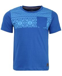 Bells and Whistles Half Sleeves T-Shirt Printed - Blue