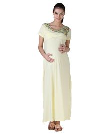 Morph Maternity Nursing Gown With Flower Detailing - Yellow