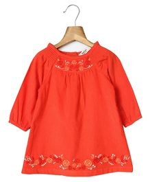 Beebay Long Sleeves Corduroy Dress With Embroidery - Coral