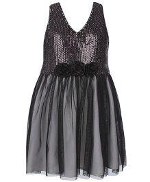 Angelito Sequin Halter Neck Party Dress - Black