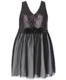 Angelito Sequin Halter Neck Party Dress - Black