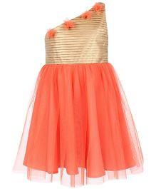 Angelito One Shoulder Party Dress Floral Applique - Gloden Orange