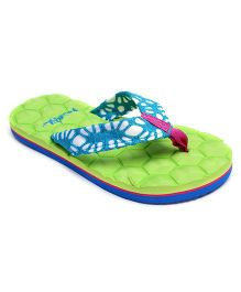 Frisky Shoes Flip Flops Geometric Design - Lime Green