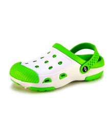 Frisky Shoes Clogs With Back Strap - White And Green
