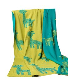 Pluchi Baby Giraffe 100 Percent Cotton Single Blanket - Green
