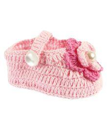 Baby Deer Crochet Booties - Pink