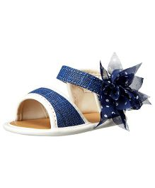 Baby Deer Sandal With Flower Overlay - Navy Metallic