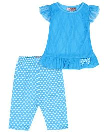 Baby Ziggles Short Sleeves Lace Top And Capri Bow Applique - Blue